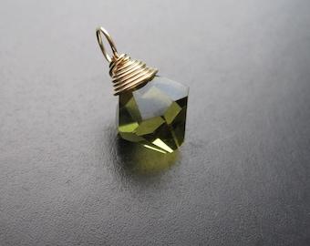 KHAKI GREEN Swarovski crystal wire wrapped Interchangeable bracelet charm and necklace pendant