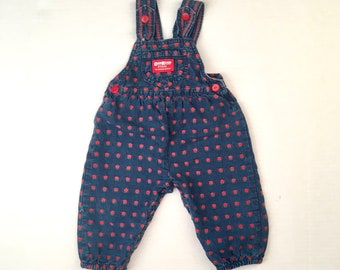 Blue with Red Roses Osh Kosh Denim Overalls 12 months Baby Girl 90s floral print cotton coveralls jumper Made in USA