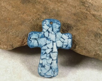 Cross Pendant, Blue, Egg Shell Mosaic, Polymer Clay, Jewelry Supplies, Unisex