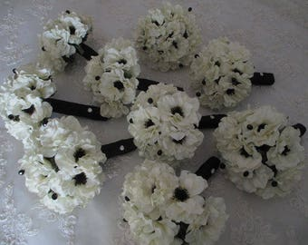 FREE SHIPPING...Bridal White  Anemone with Inky Black Centers .....14 Piece Silk bridal Bouquet Set  Bridesmaids Wedding Bouquet