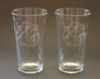 Anatomical Heart Etched Pint Glasses Engraved Beer Pints