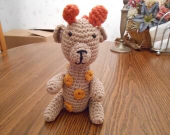 New HANDMADE Crocheted Beige and Orange Giraffe