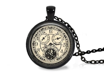 "25mm Antique Clock w/ Moon & Stars Cabochon Black 18"" Necklace"