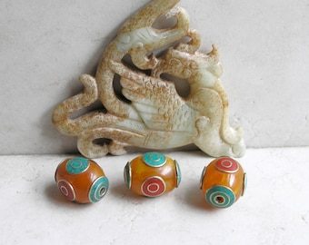 Tibetan Inlay Beads Copal Coral Turquoise Bead Collection For Beaded Jewelry Making Metaphysical Healing Stones
