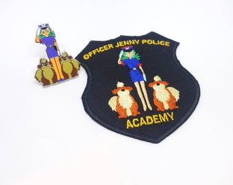 Set of Both Officer Jenny Police Academy Embroidered Patch & Hard Enamel Pin | Hand Made Pin | Pokemon Pin | Pokemon Patch