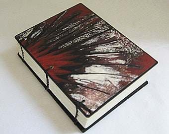 Small OOAK book, Mini Journal with bag, monoprint book cover, blank book, red brown black white, unique book, artist book