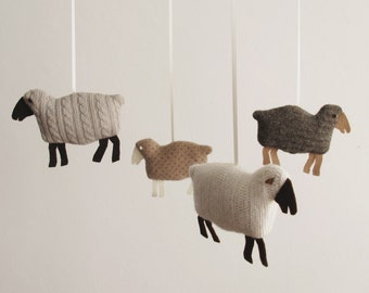 Textured Wooly Sheep Mobile in Browns