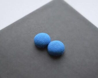Blue Button earrings, Neon Earrings, Stud Earrings, Fabric earrings