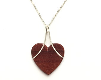 Heart Necklace with Silver and Ebony or Pau Brasil. Gift for Wife, Mom, girlfriend, daughter