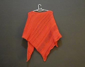 Handknitted shawl/ wrap, salmon, wool + cotton
