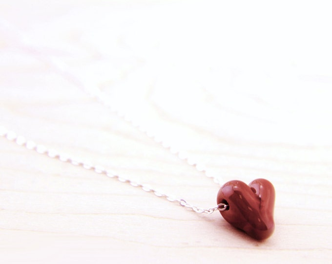 Deep Red /heart shape pendant/ hand made/ sterling silver chain/ lamp work heart pendant by Destellos - Glass Art & Accessories
