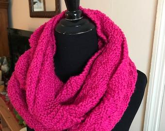 Hand Knit Infinity Scarf - Raspberry