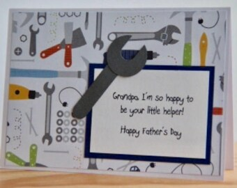 Father's Day Card for Grandpa. Tool Father's Day card from child.  Grandpa's little helper.  Tool Card