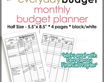 "HALF SIZE 5.5"" x 8.5"" - Monthly Budget Tracker Planner Printable Worksheet -  Black & White- PB1519"