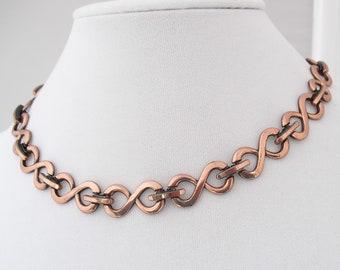 Vintage Renior Copper Necklace, Retro 1950s Choker, Mid Century Copper Jewelry