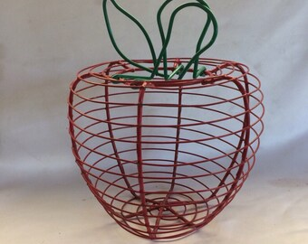 Vintage Apple Shaped Wire Basket