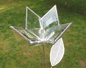 Glass Flower Beveled Stained Glass Flower Wedding Proposal 3D Love Handmade OOAK 5p