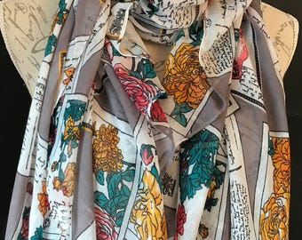 Grey multi colour flower postcard scarf