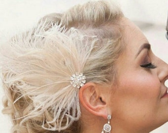 Wedding Fascinator, Feather Fascinator, Bridal Accessories, Bridal Hair Clip, Ivory headpiece,  Wedding Hair Piece,  Bridal Headpiece