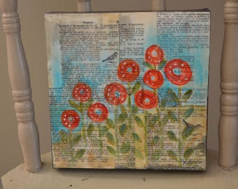 Mixed Media Folk Art Primitive Poppies Collage Bees Wax Painting