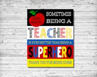 Teacher Gift, Personalized Teacher Gift, Teacher Superhero Classroom, Superhero Teacher Gift, Thank You Teacher Gift, Digital Download Art