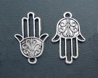 Silver Hamsa - Hand of Fatima - Charms / Pendants / Links - Set of 10