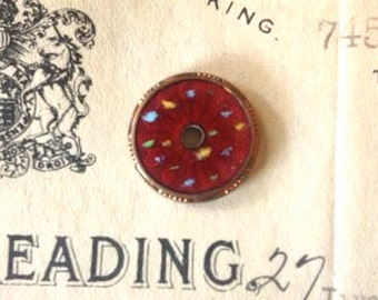 Antique Copper Red Enameled Disc Finding DIY Jewelry Supplies Art Deco Circular Plaque Set of 2
