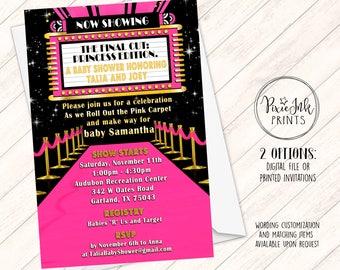 Pink Carpet Invitation, Hollywood Party Invite, Pink Carpet Party Invitation, Hollywood Printable, Pink Carpet Birthday, Pink & Silver Star