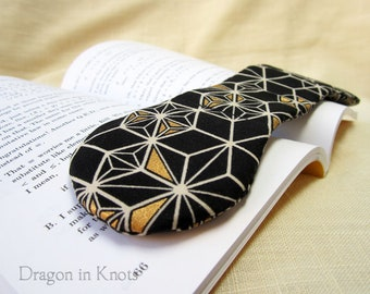 Black and Gold Book Weight - geometric pattern page holder, reading aid, book accessory, booklover gift, Japanese cotton and American steel