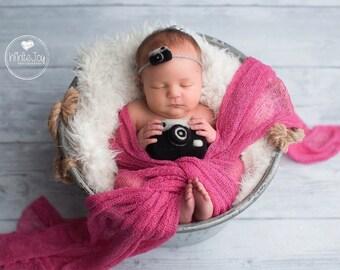 Needle Felt Newborn Photography Photo Prop Set Photographer Pure Wool Needle Felt Camera with Camera Tieback Stuffy Photo Prop
