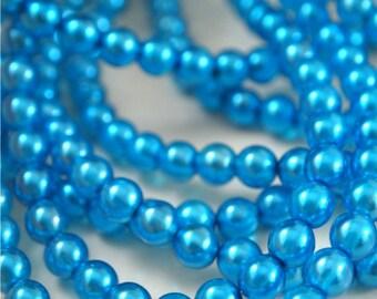 6mm ronde lumières perle turquoise-Qté 25 (CZ 6R TP)