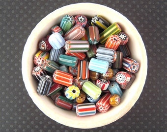 WHOLESALE Striped Chevron Glass Bead Mix, 4.8 Ounce, 8mm, 12mm, Colorful Glass Bead Soup Mix, Glass Tube Beads, Millefiori Beads X27W