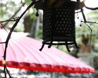 ZT/ Japanese lantern Asian umbrella onsen hot spring red paper umbrella zen backlit lantern peaceful meditation Japan culture photography