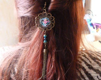 """""""Blue flowers and multicolors"""" bronze hair stick"""