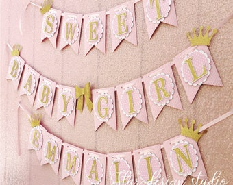 Baby Shower Girl Banner  Sweet Baby Girl- Crown, Bow Pink, Gold and White Name Available