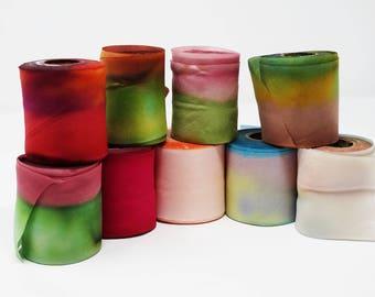 Hanah Silk Ribbon 2 1/2 inch Hand Dyed Craft Ribbon Hair Ribbon
