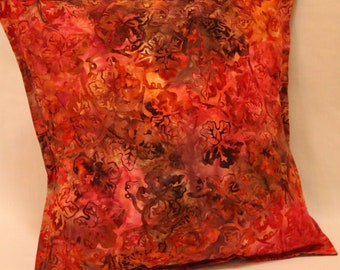 Cushion Cover, 14in Square Cushion Cover, Pillow Cover, Throw Pillow Cover, Multi Coloured, Autumn/Fall Theme, Batik Style Design