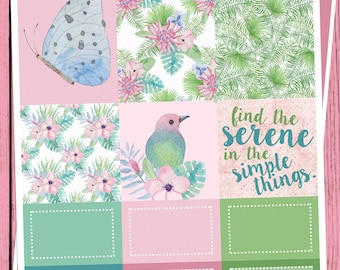 Serene, Tropical Bird, Mini Kit for use with Erin Condren Vertical Lifeplanner, Stickers, Floral, Weekly Planner, Purple, Full Boxes