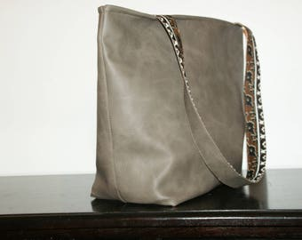 Light brown faux leather tote.