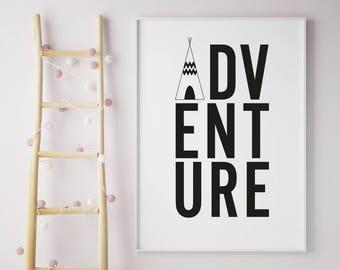 Adventure Framed Print with Tepee, Wanderlust, typographic, monochrome wall art, A4, A3, Digital print, Adventure