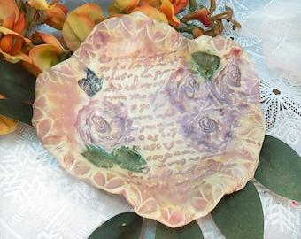 small decorative bowl - ceramic jewelry dish - hand built pottery - trinket dish - pink small ceramic dish - gifts under 20   # 131