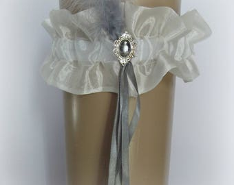 Gray and ivory organza garter