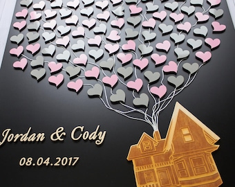 Disney wedding 3D Wedding guest book Flying house with balloons Up Movie inspired wedding guestbook Movie up guest book Up house guest book