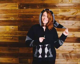 OOAK Upcycled Black and Gray Argyle Hoodie