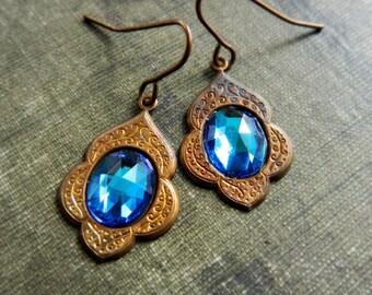 Peacock Blue Earrings. Morrocan Inspired Blue Earrings.  Bohemian Jewelry.
