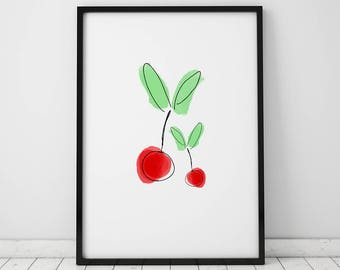 Cherry INSTANT DOWNLOAD Printable, Kitchen Printable, Kitchen Print, Cherry Printable, Red printable, Cherry Print, Food Printable, Cherry