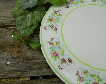 Vintage Ceramic Cake Plate With Light Green Edging and Flowers Around the Rim