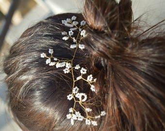 """Wedding Bridal Hair Piece, Wedding Hair Vine, wedding hair accessory, Bridal Hair piece, wedding head piece, pearl hair vine. 7"""" - 30"""" long"""