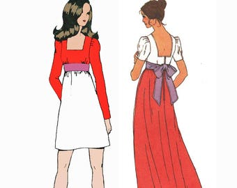 1970s Maxi Dress Pattern Square Neck and Back Puff Sleeve High Waist Mini Dress Sewing Pattern Simplicity 5469 Bust 32 UNCUT
