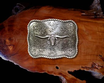 "Texas Longhorn Buckle * Antique Sterling Silver Plated * Western Belt Buckle * Fits  Belts up to 1 1/2""  (38 mm)  * Best Quality"